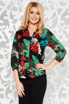 Black casual flared women`s shirt without buttons airy fabric