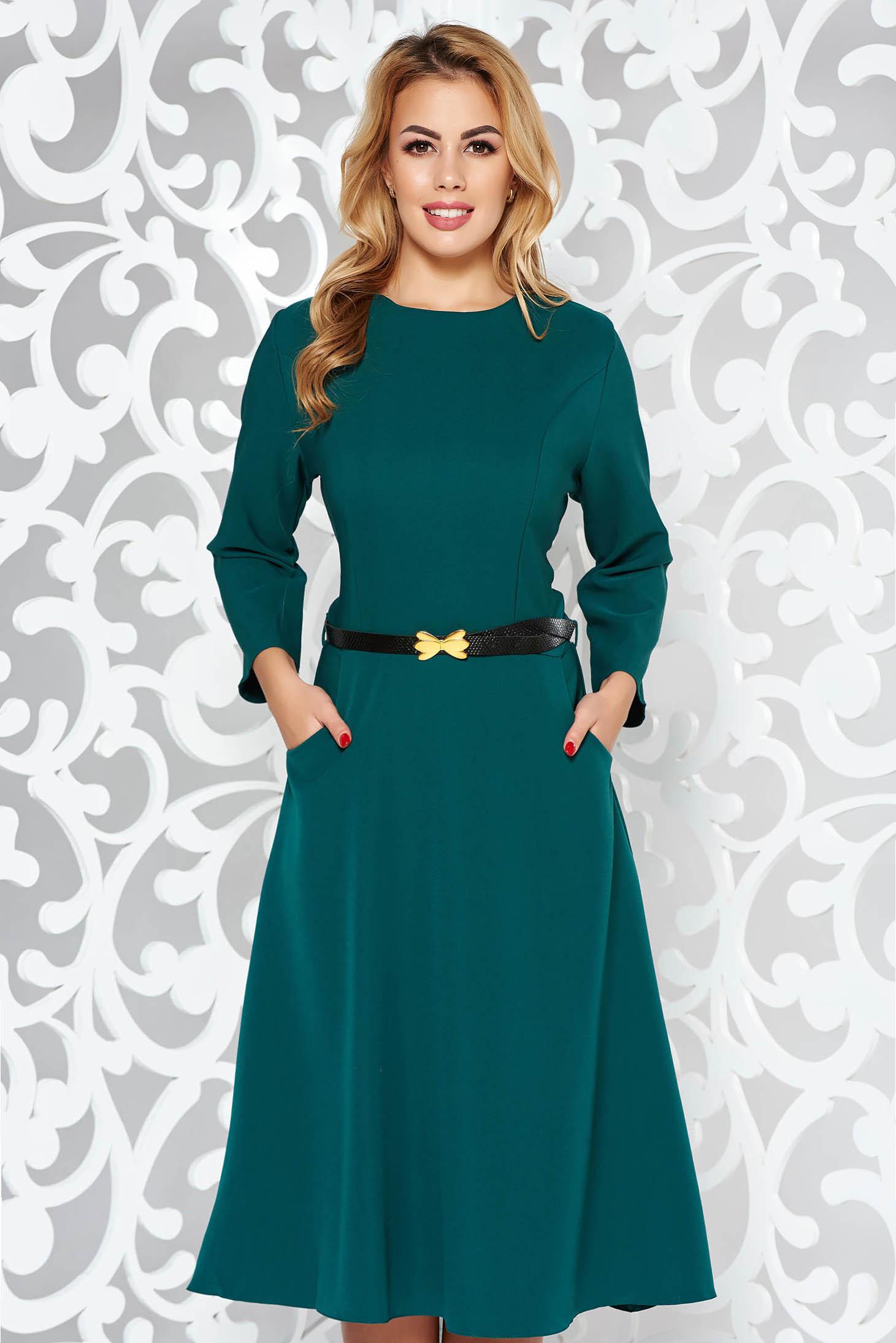 Zöld ruha irodai harang enyhén elasztikus pamut zsebes öv típusú kiegészítővel