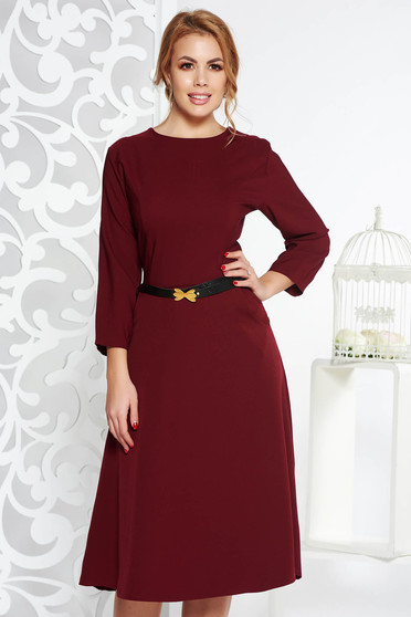 Burgundy office cloche dress slightly elastic cotton with pockets accessorized with belt