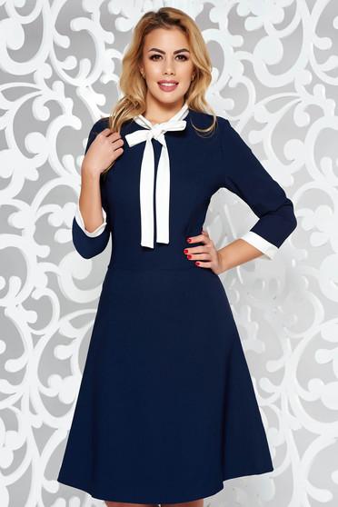 Darkblue Midi Office Dress Flexible Thin Fabric Cloth Item Code S 039969 1