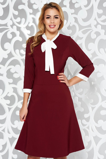 Burgundy dress office flexible thin fabric/cloth midi