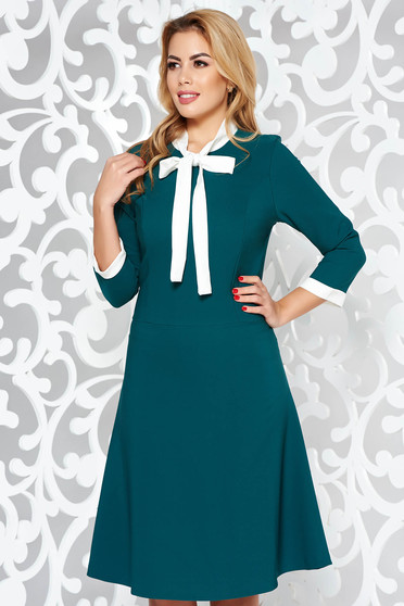 Green dress office flexible thin fabric/cloth midi