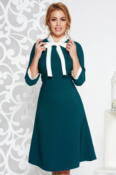 Green midi office dress flexible thin fabric/cloth