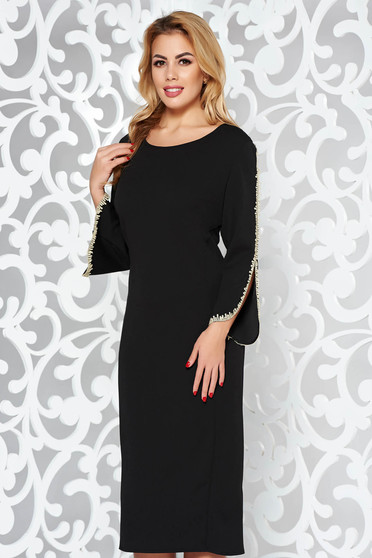 Black elegant pencil dress from elastic fabric with embroidery details with 3/4 sleeves