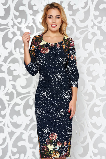 Darkblue dress office pencil slightly elastic fabric with 3/4 sleeves midi