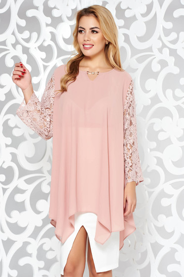 Rosa women`s blouse elegant flared voile fabric with laced sleeves asymmetrical