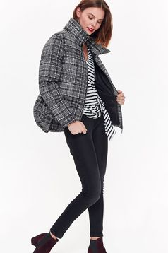 Top Secret grey casual jacket with straight cut long sleeved plaid fabric