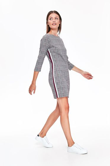 Top Secret grey casual flared dress slightly elastic fabric plaid fabric