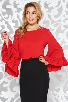 StarShinerS bell sleeves red women`s blouse from veil fabric elegant flared