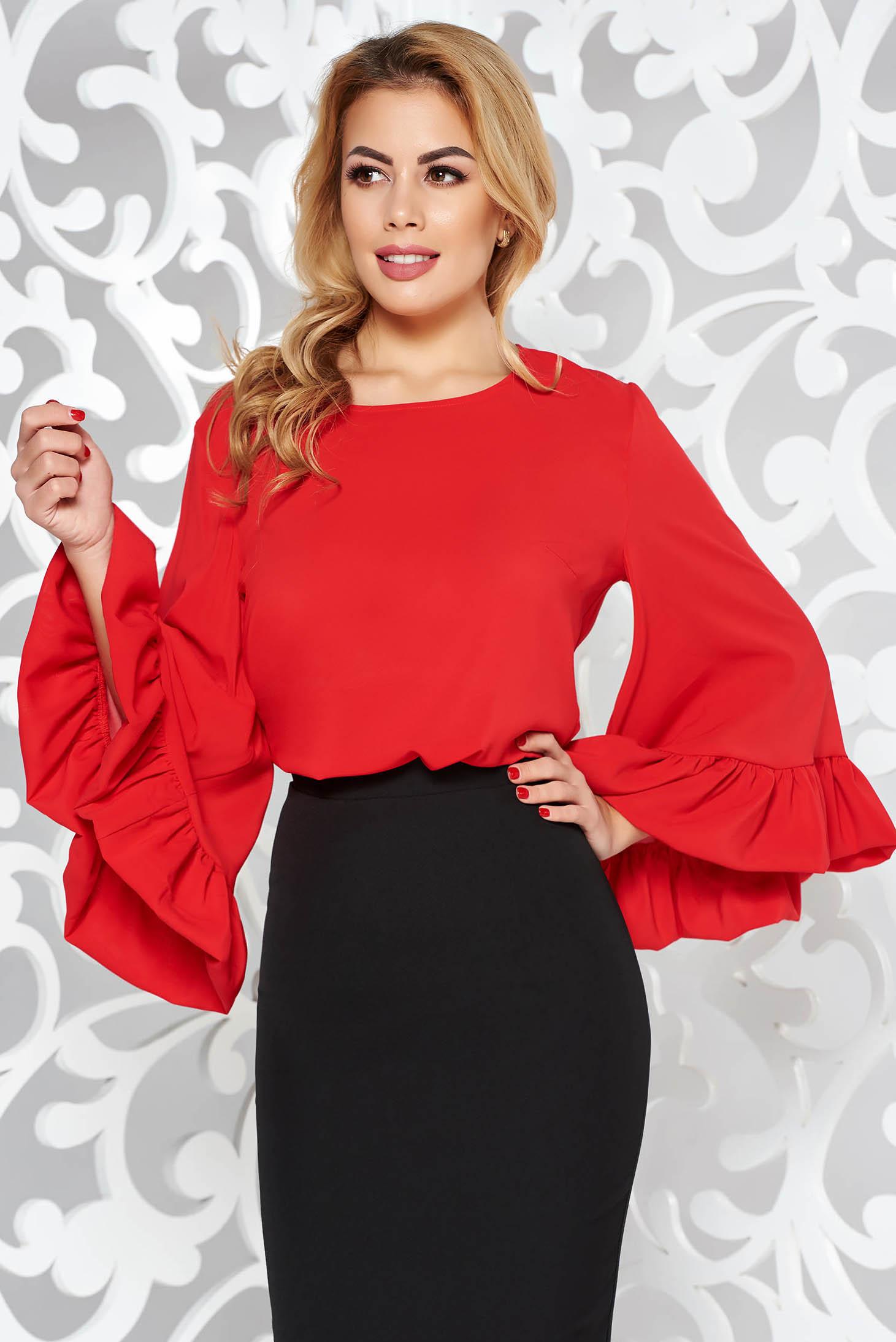 Bluza dama StarShinerS rosie eleganta cu croi larg din voal cu maneci clopot