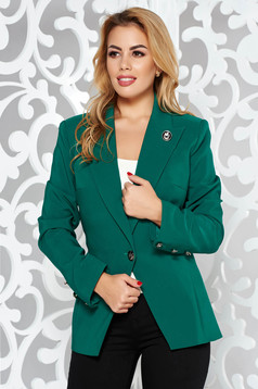 LaDonna green jacket office slightly elastic fabric with inside lining tented with button accessories