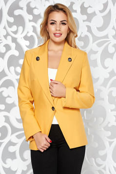 LaDonna mustard jacket office slightly elastic fabric with inside lining tented with button accessories
