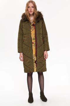 Top Secret khaki casual from slicker jacket with easy cut with undetachable hood