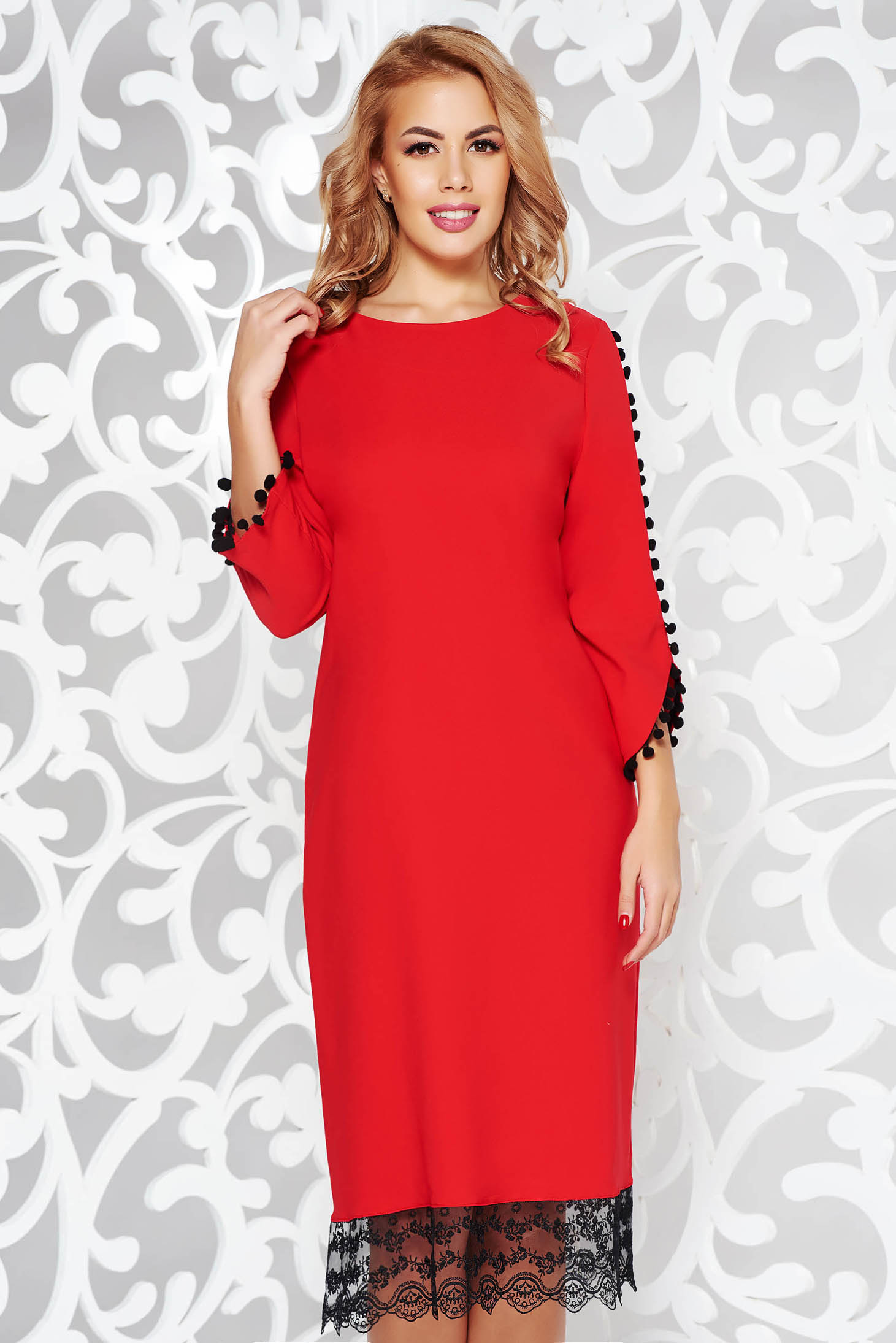 Red dress elegant flared slightly elastic fabric with lace details with tassels