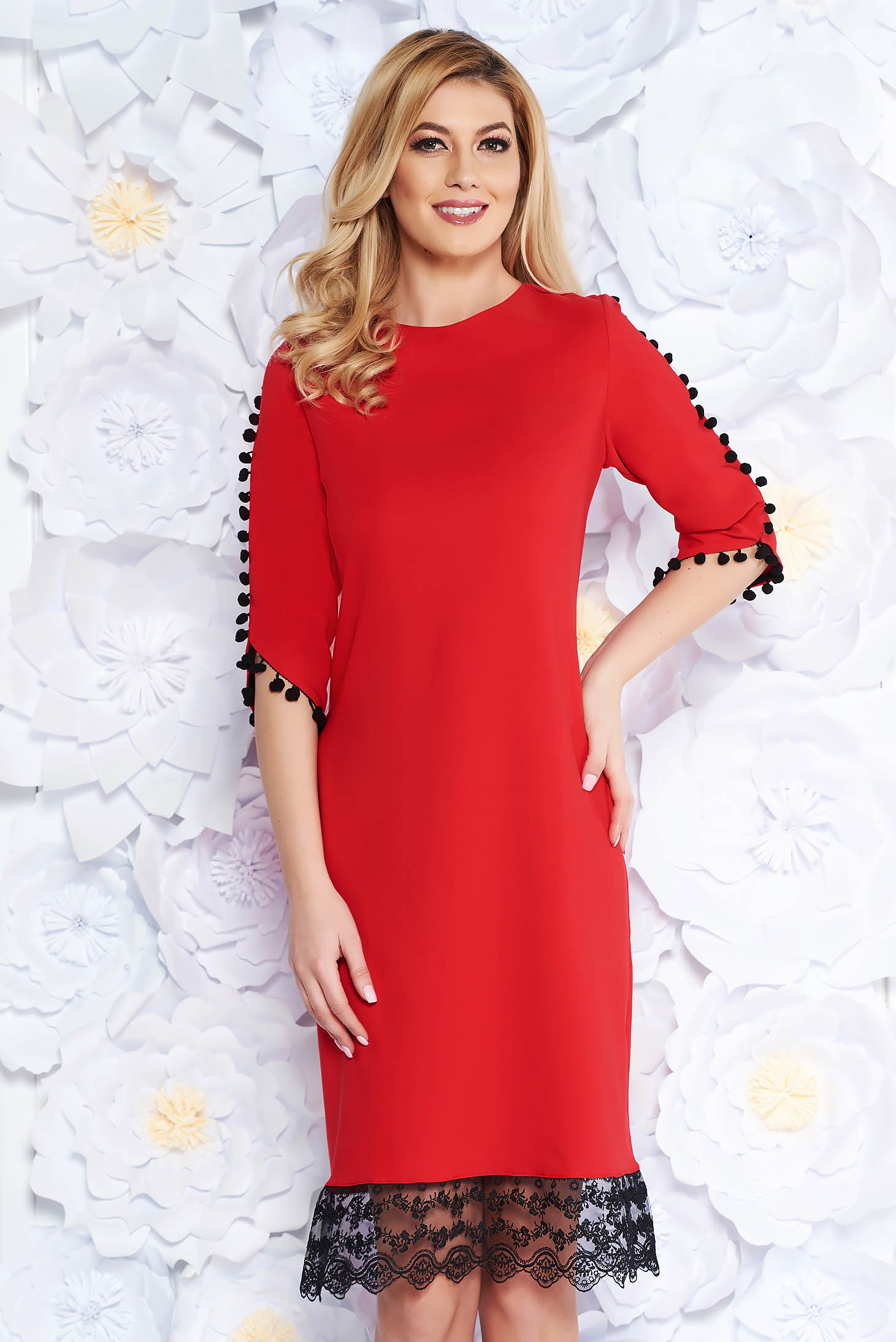 Red elegant flared dress slightly elastic fabric with lace details with tassels