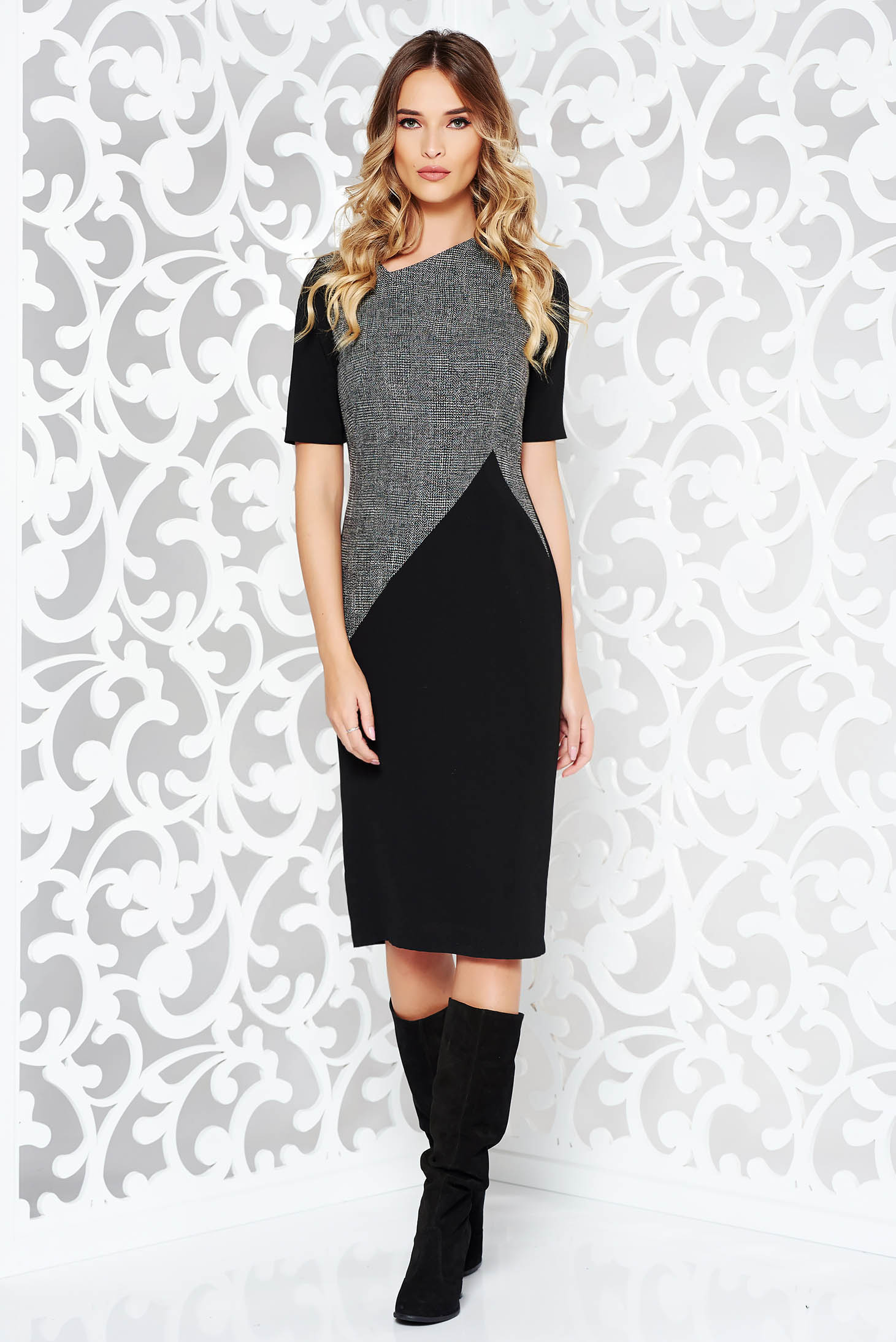 StarShinerS black office midi pencil dress from non elastic fabric with inside lining