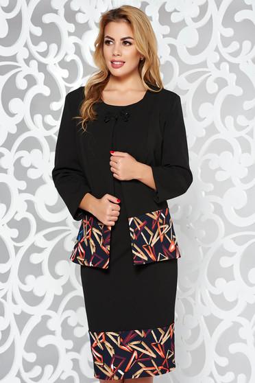 Black lady set elegant arched cut slightly elastic fabric
