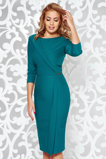 LaDonna green dress office pencil slightly elastic fabric with inside lining with 3/4 sleeves