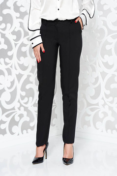 LaDonna black office conical trousers slightly elastic fabric with pockets with medium waist