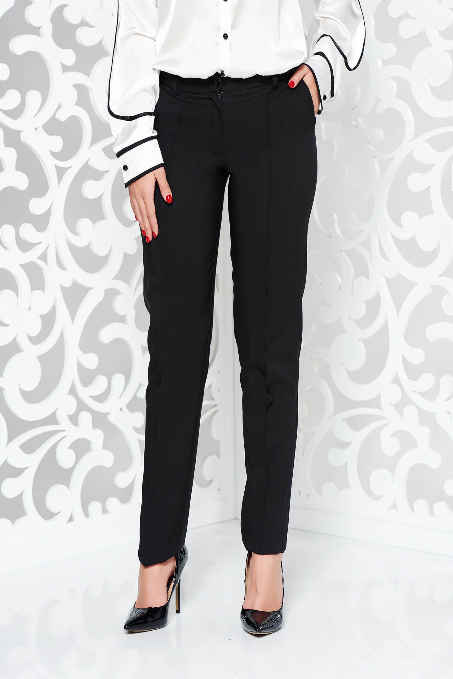 Pantaloni LaDonna negri office conici din stofa usor elastica cu talie medie si buzunare