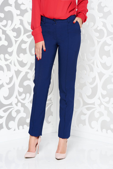 LaDonna darkblue trousers office conical slightly elastic fabric with pockets with medium waist