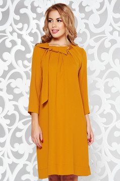 LaDonna mustard elegant flared dress from non elastic fabric with 3/4 sleeves