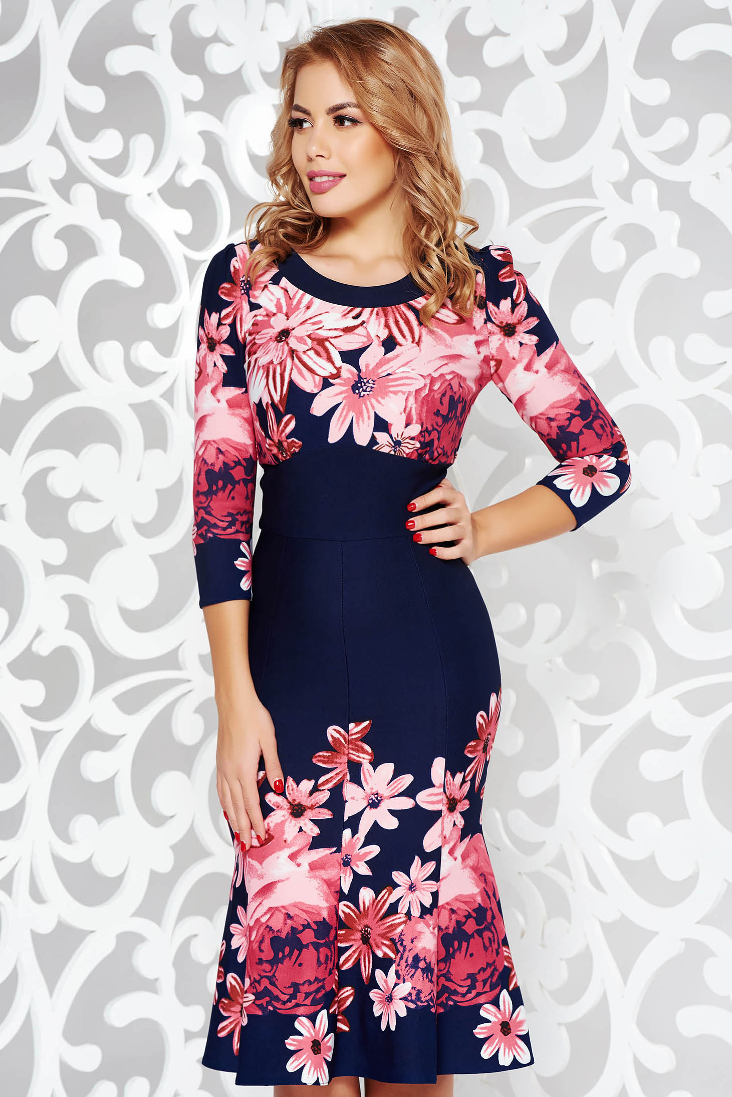 Darkblue elegant midi dress flaring cut from elastic fabric with floral prints