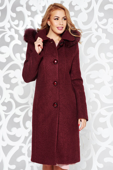 Burgundy coat elegant with straight cut from wool with inside lining detachable hood