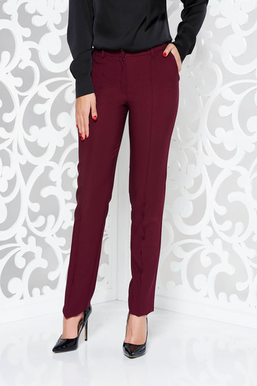 LaDonna burgundy trousers office conical slightly elastic fabric with pockets with medium waist