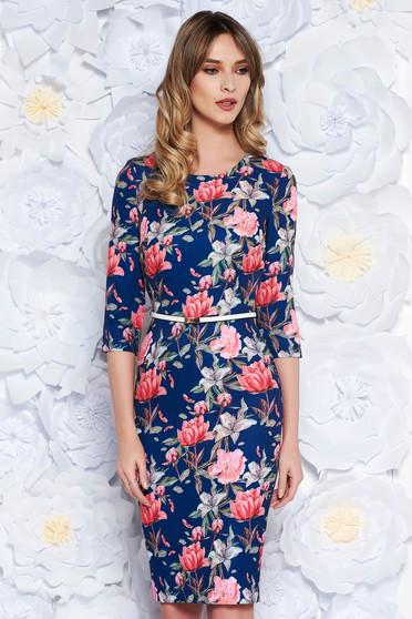 StarShinerS blue elegant pencil dress slightly elastic fabric accessorized with belt