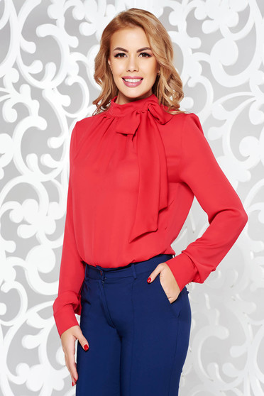 PrettyGirl red women`s blouse office flared nonelastic fabric