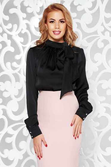 PrettyGirl black women`s blouse office flared nonelastic fabric