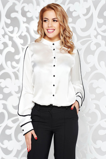 PrettyGirl white women`s shirt elegant flared from satin fabric texture long sleeved