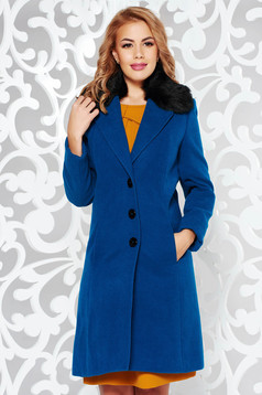 StarShinerS turquoise coat elegant arched cut from wool with inside lining fur collar