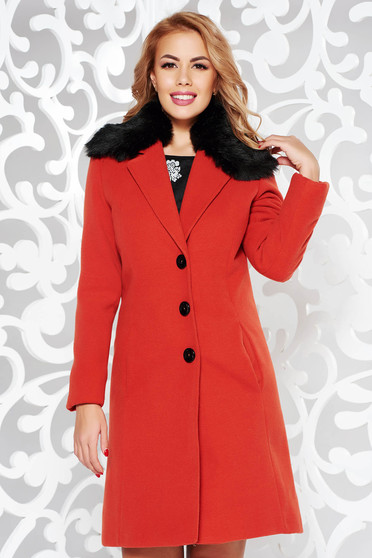 StarShinerS bricky coat elegant arched cut from wool with inside lining fur collar