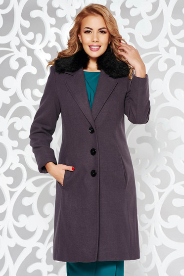 StarShinerS darkgrey coat elegant arched cut from wool with inside lining fur collar