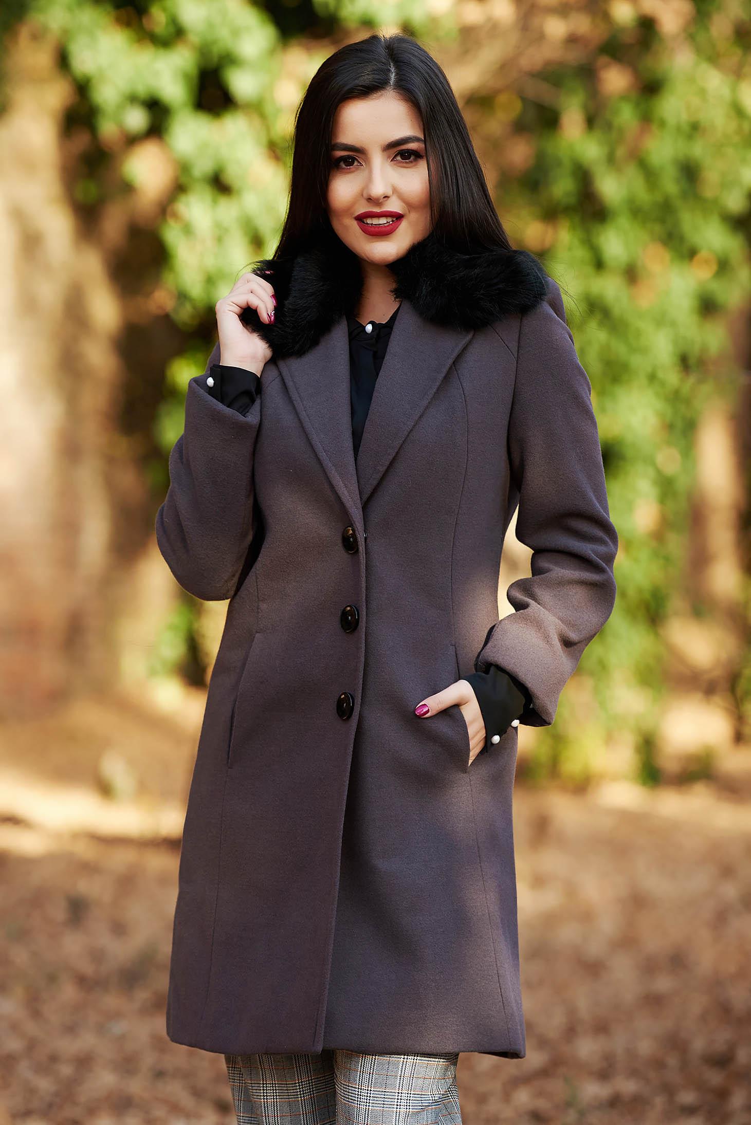 Palton StarShinerS gri-inchis elegant cu un croi cambrat din lana captusit pe interior cu guler din blana