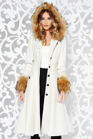 StarShinerS nude coat elegant cloche with inside lining with faux fur details from wool