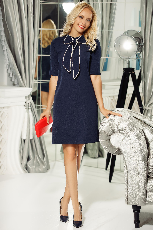Rochie Fofy albastra-inchis eleganta cu croi in A din stofa subtire usor elastica accesorizata cu o fundita