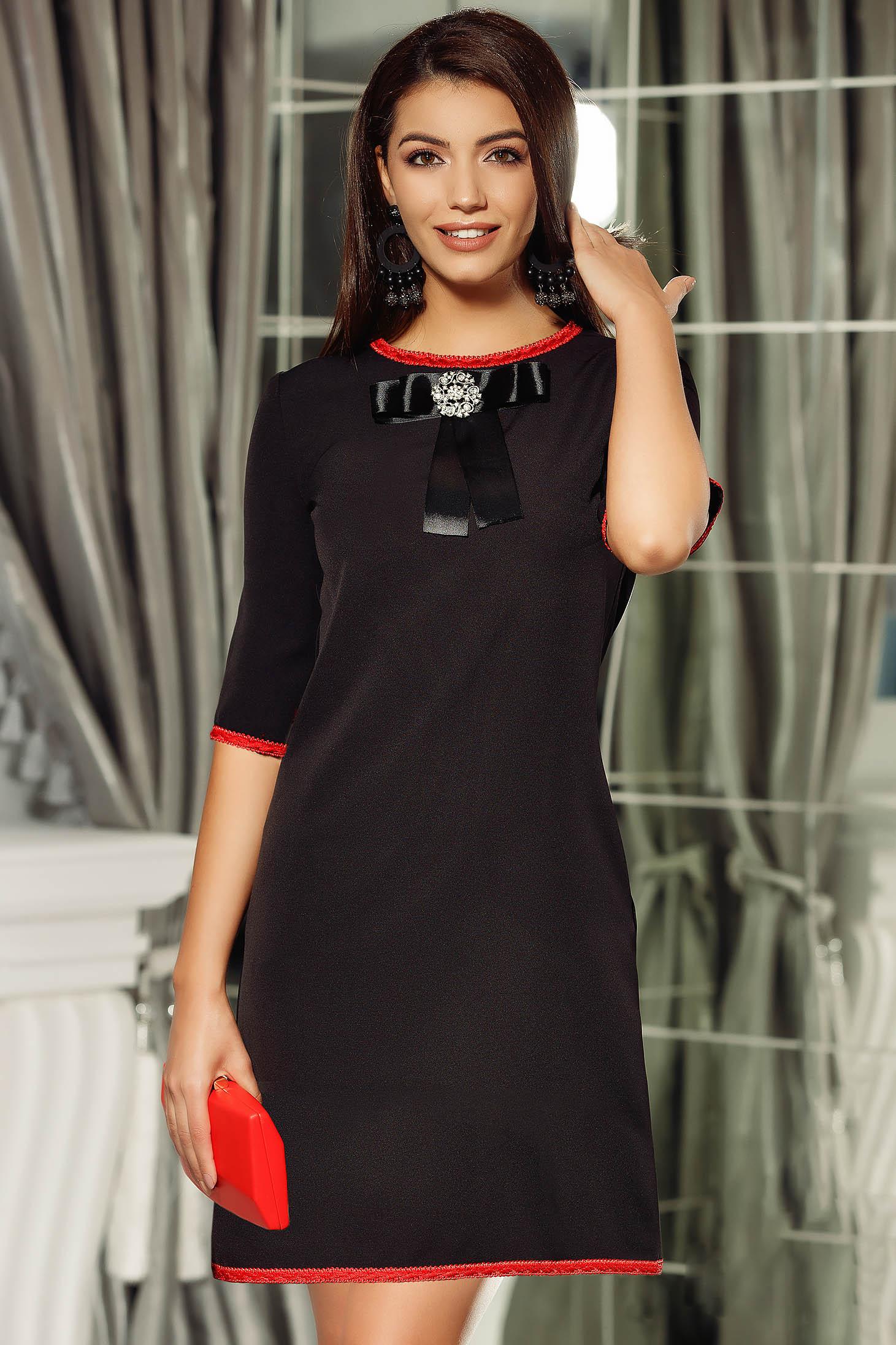 Fekete Fofy elegáns a-vonalú ruha masni díszítéssel
