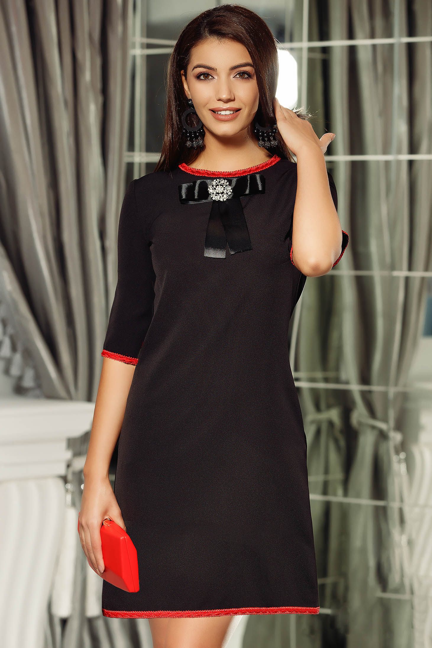 Fofy black elegant a-line dress bow accessory
