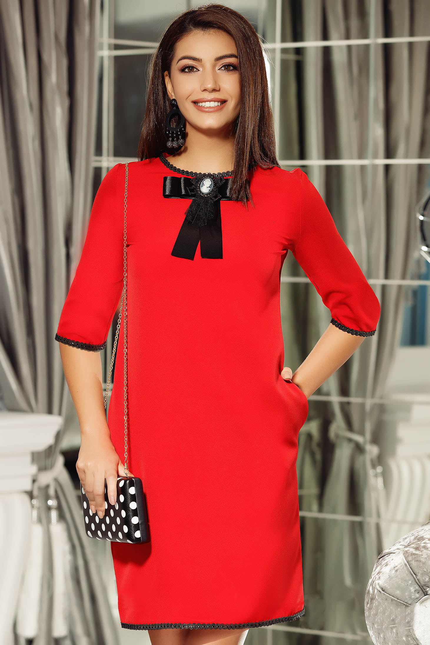 Fofy red elegant a-line dress bow accessory