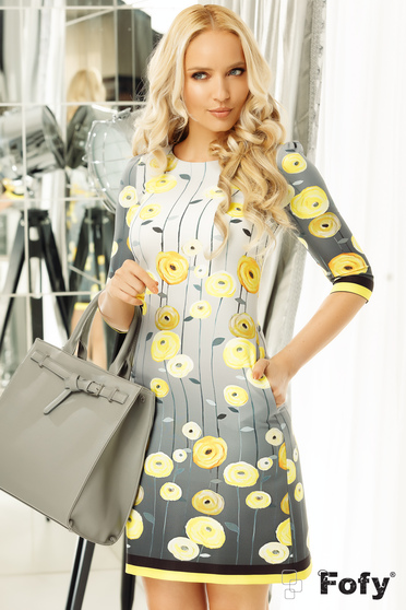 Fofy yellow dress daily a-line from non elastic fabric with 3/4 sleeves