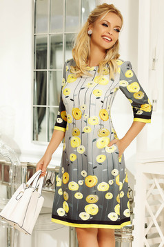 Fofy yellow daily a-line dress from non elastic fabric with 3/4 sleeves