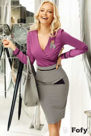 Fofy purple women`s shirt office with tented cut wrap around slightly elastic cotton with v-neckline