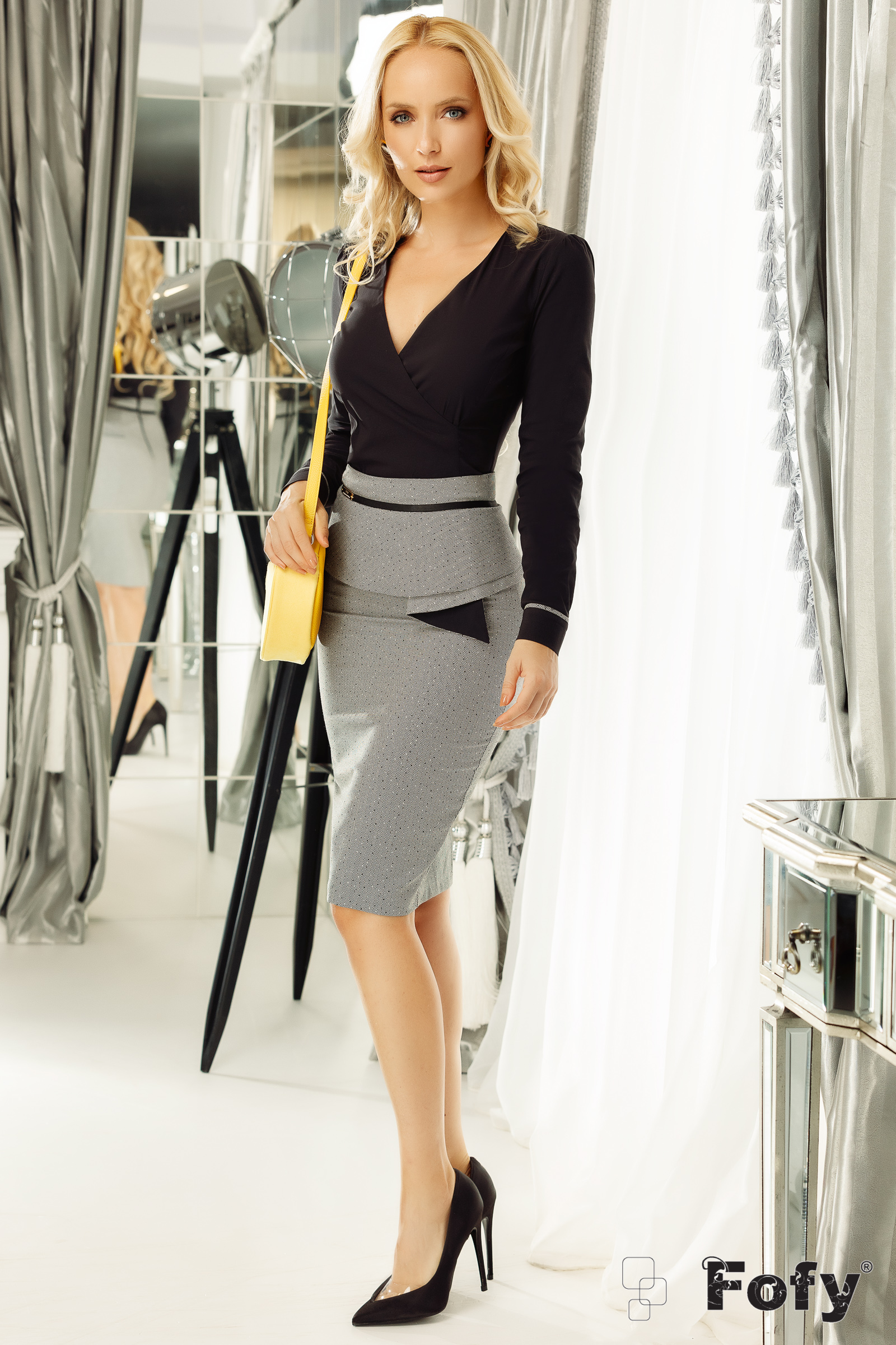 Fofy grey skirt office pencil from non elastic fabric with ruffle details