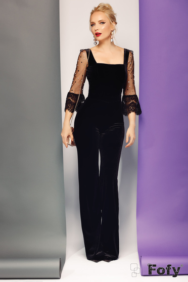 Fofy black jumpsuit occasional velvet flaring cut with laced sleeves