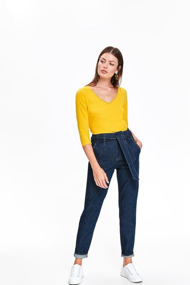 Top Secret blue casual high waisted trousers cotton accessorized with tied waistband