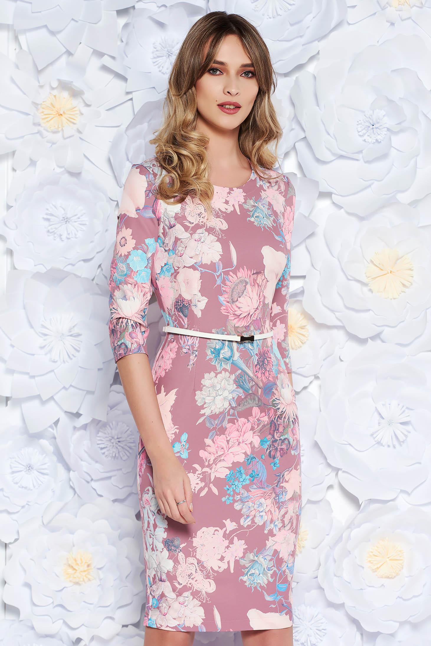 StarShinerS rosa elegant pencil dress slightly elastic fabric accessorized with belt