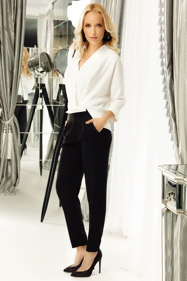 Fofy black trousers office conical with medium waist with pockets slightly elastic fabric